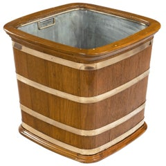 A Large Edwardian Copper-Bound Teak Log Box