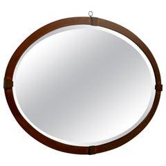 Large Edwardian Inlaid Mahogany Oval Mirror