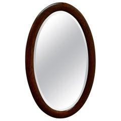 Large Edwardian Oak Oval Mirror