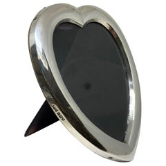 Large Edwardian Sterling Silver Heart Shaped Photograph Frame