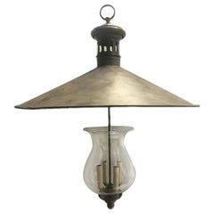 Large English Hammered Metal and Glass Fixture