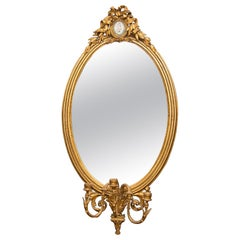 Large English Oval Overmantle Mirror