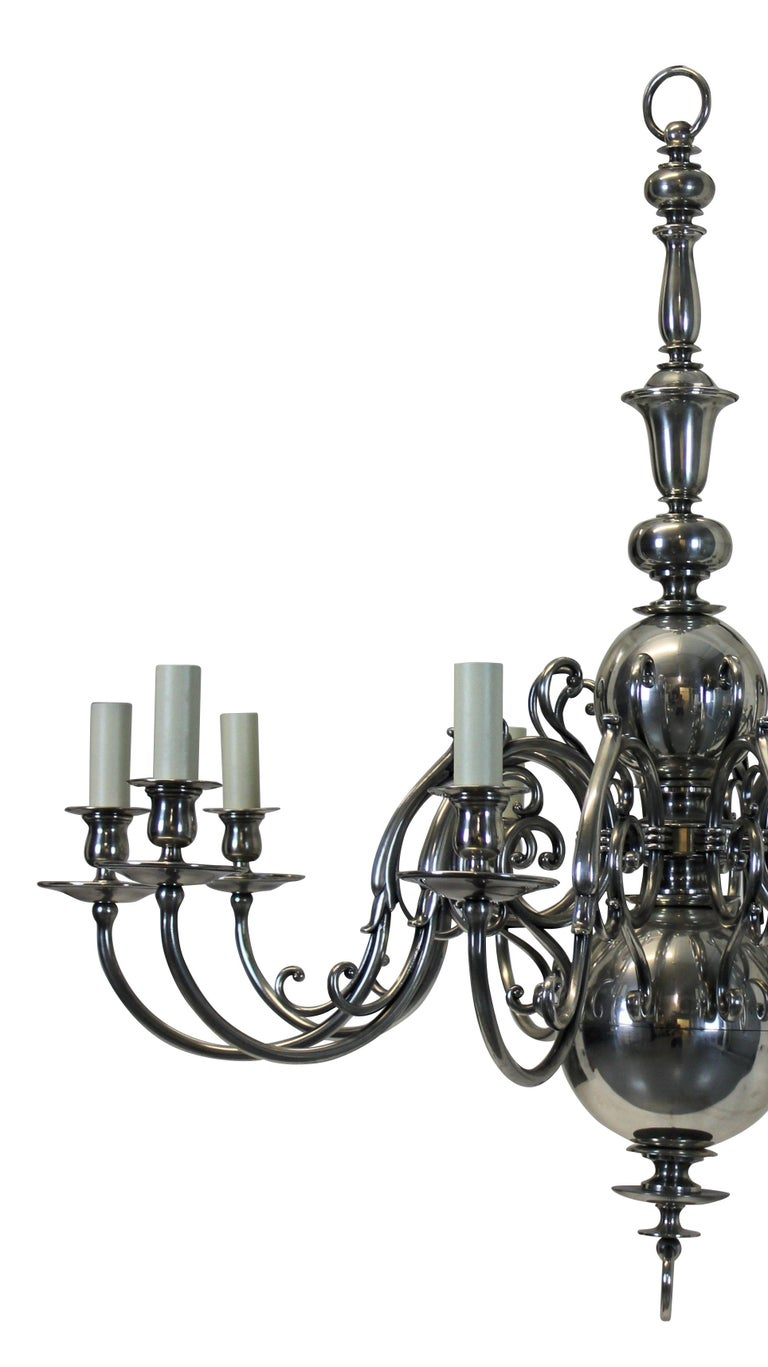 Dutch Large English Silver Plated Chandelier