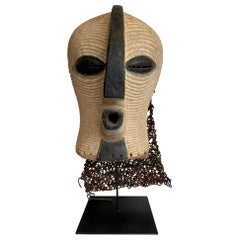 Large Female Songye Kifwebe Carved Wooden Ceremonial Mask with Raffia Backing