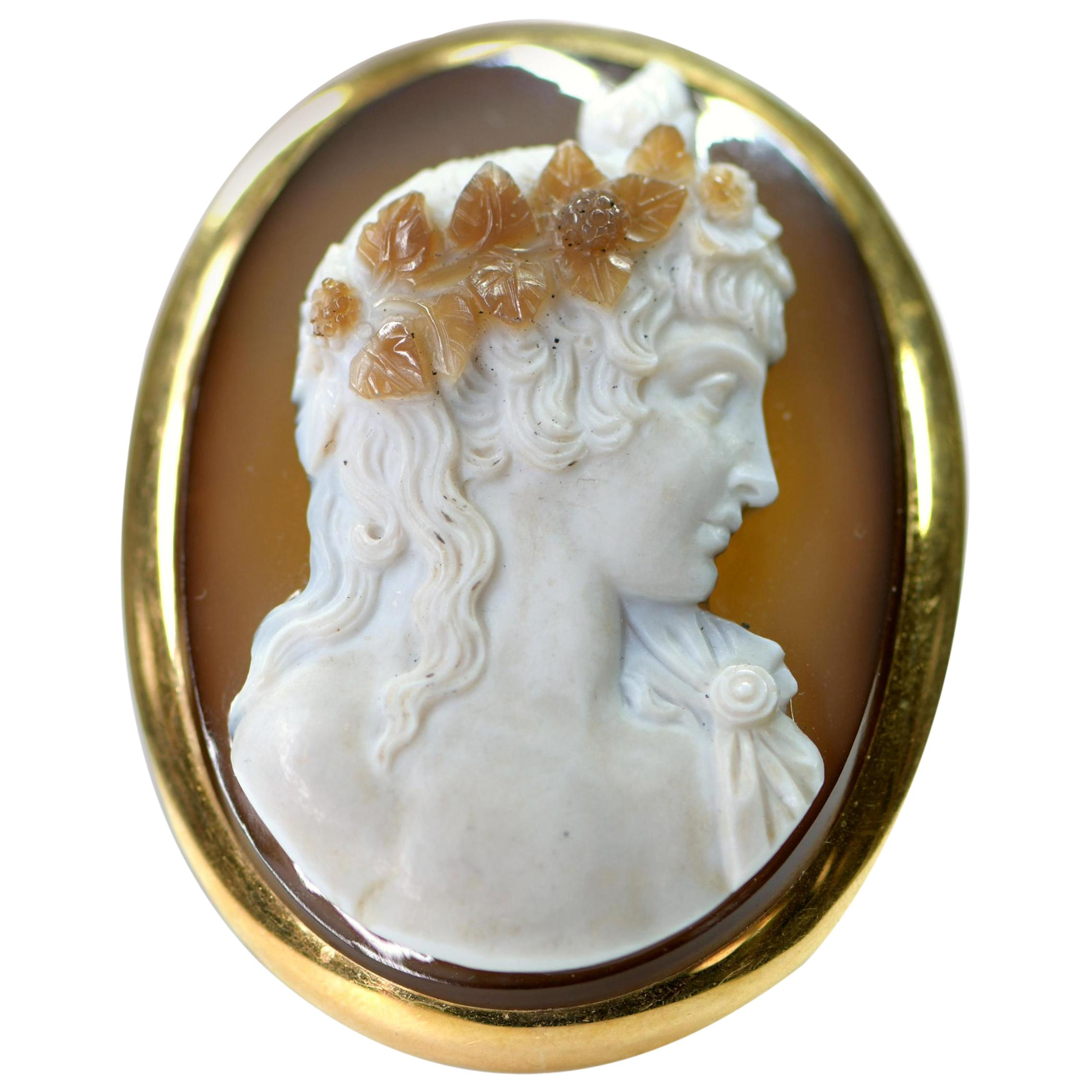 Large French Antique Agate Cameo Brooch Pendant