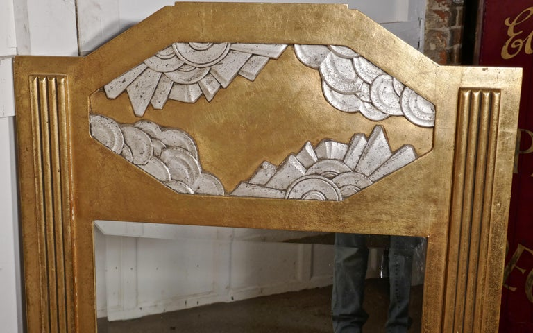 Large French Odeon Style Art Deco Gilt Wall Mirror For Sale 1