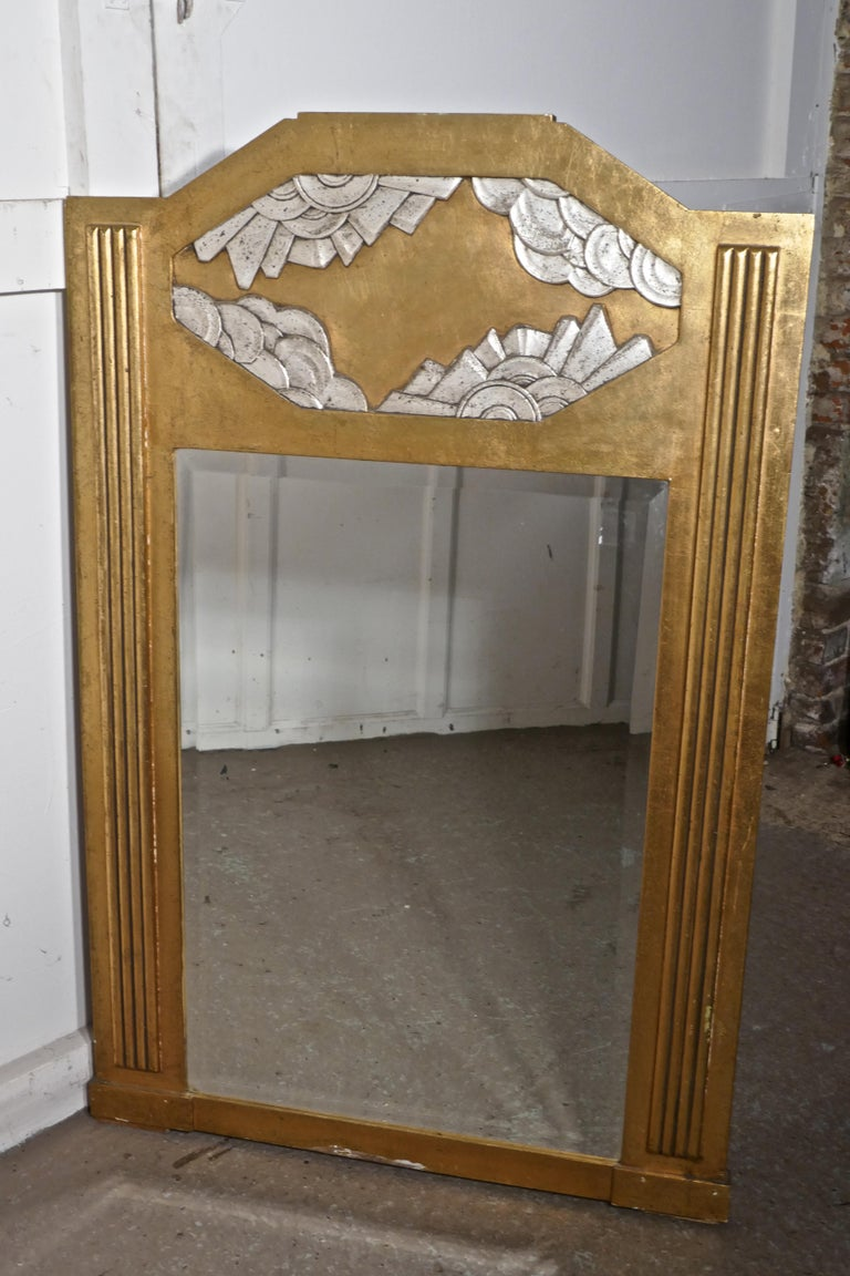 Large French Odeon Style Art Deco Gilt Wall Mirror For Sale 2