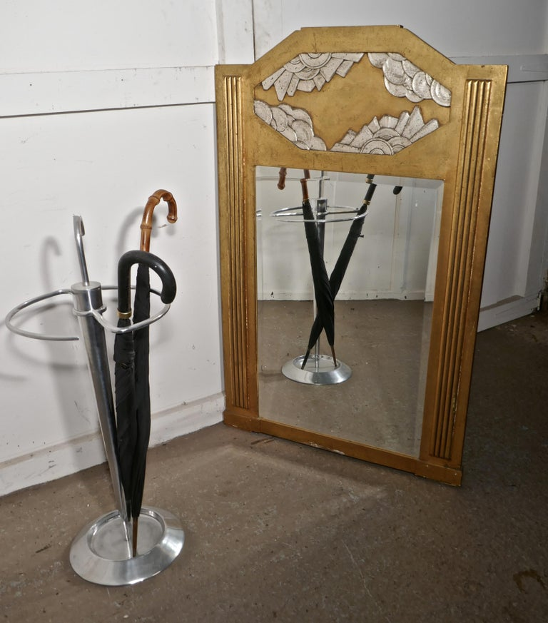 Large French Odeon Style Art Deco Gilt Wall Mirror For Sale 3