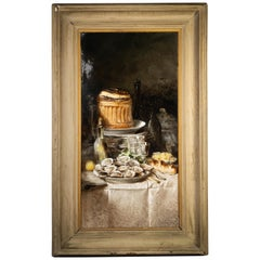 Large French Porcelain Still Life Plaque, circa 1900