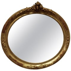 Large French Rococo Oval Gilt Wall Mirror