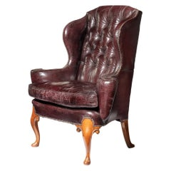 Large George I Style Burgundy Leather Wing Armchair