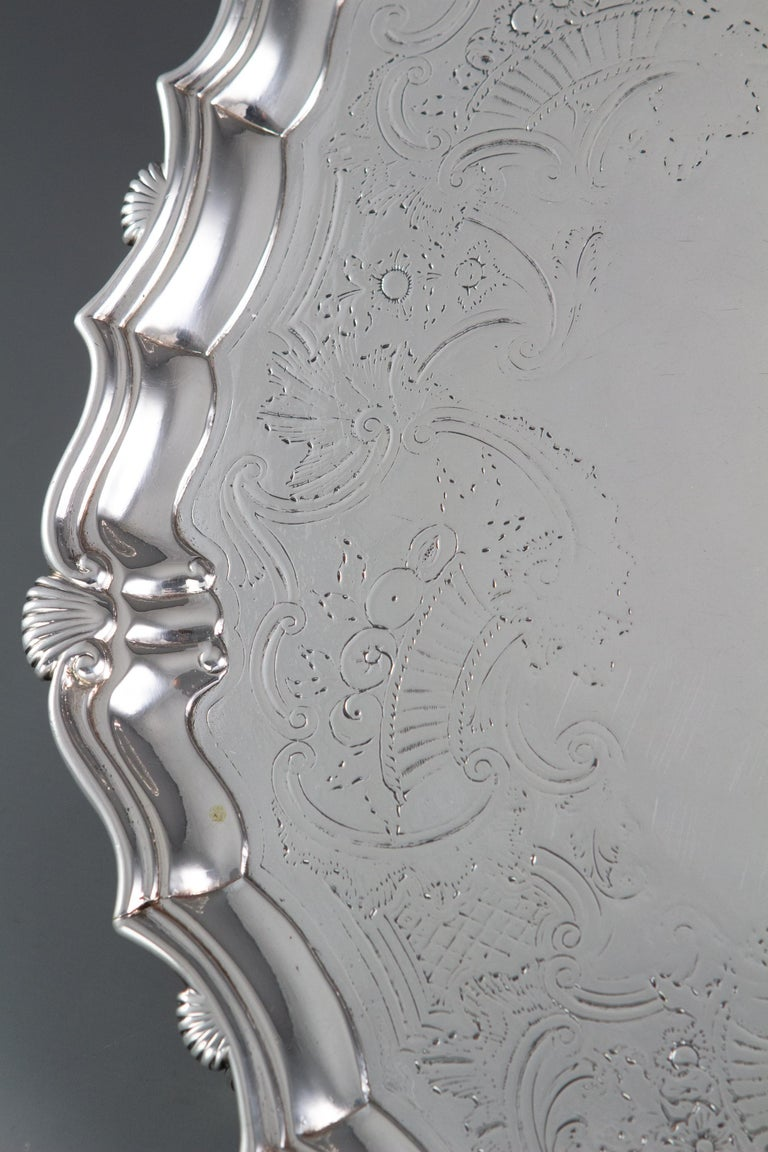 English Large George II Silver Salver London 1738 by John Tuite For Sale