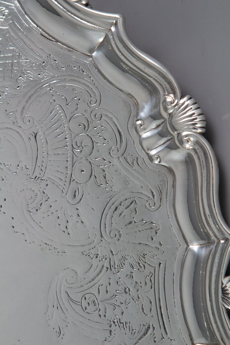 Large George II Silver Salver London 1738 by John Tuite In Good Condition For Sale In Cornwall, GB