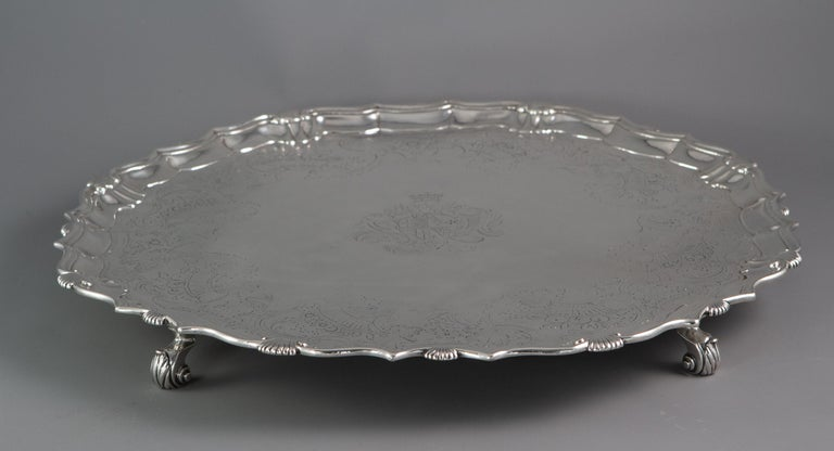 Mid-18th Century Large George II Silver Salver London 1738 by John Tuite For Sale