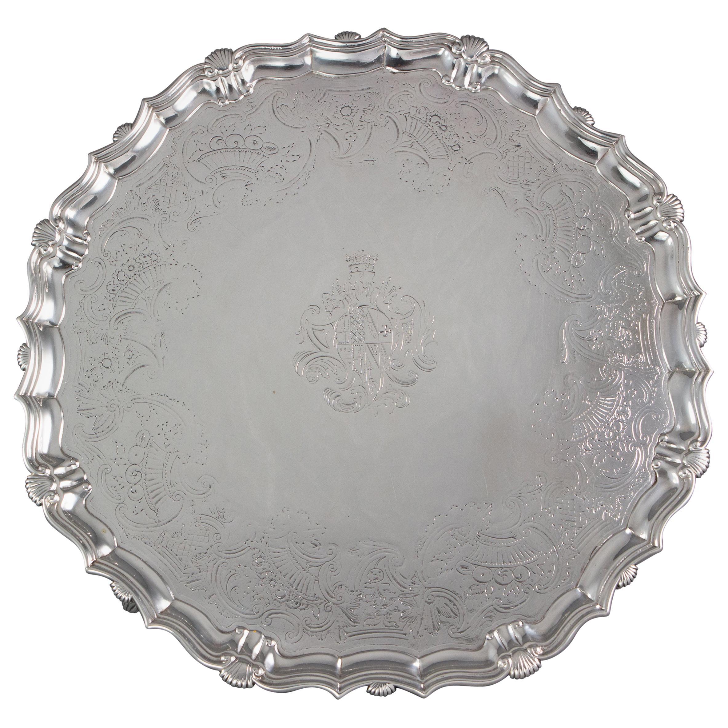 Large George II Silver Salver London 1738 by John Tuite