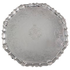 Large George II Silver Salver London 1738 by John Tuite