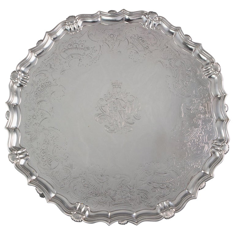 Large George II Silver Salver London 1738 by John Tuite For Sale