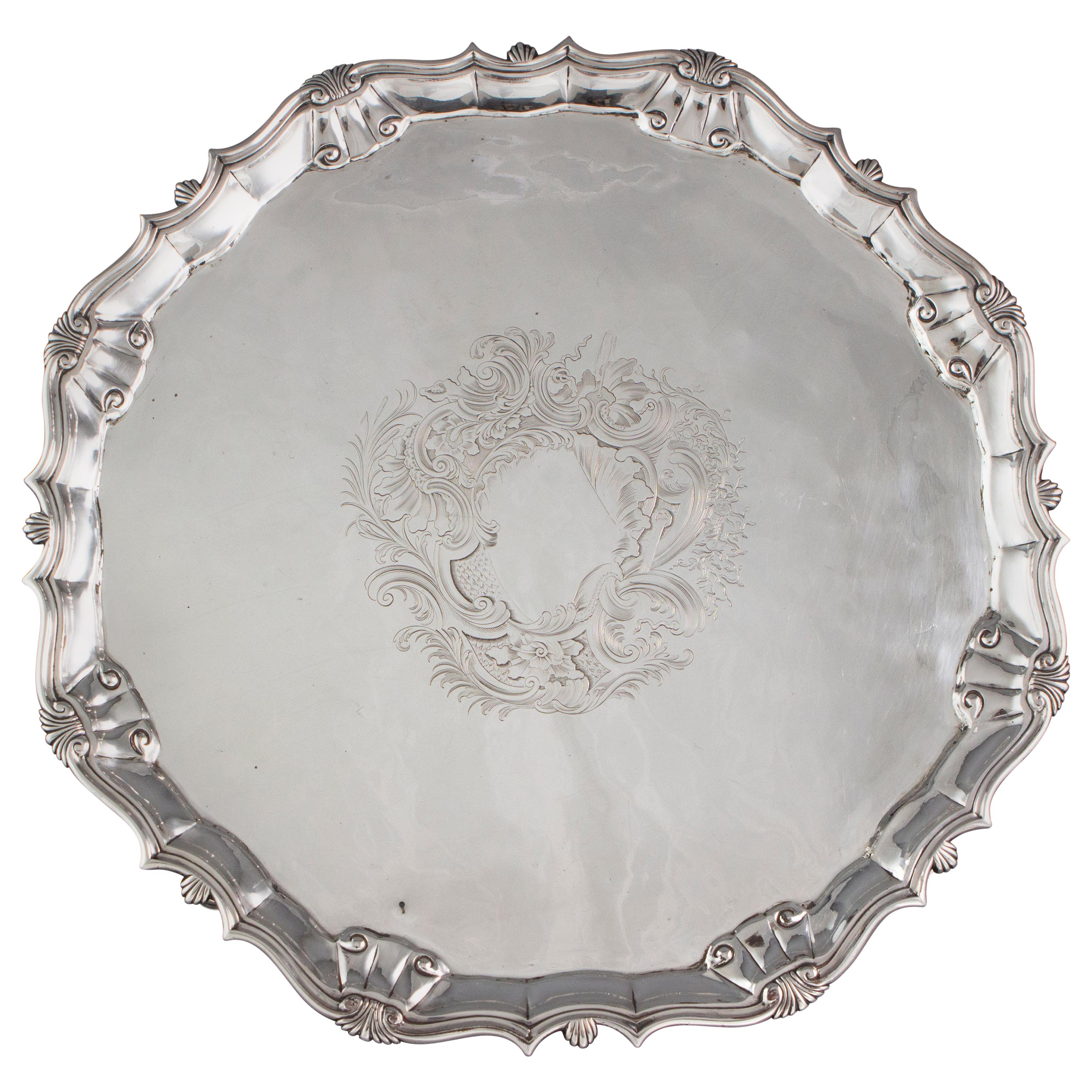 Large George II Silver Salver or Tray, London, 1750 by John Le Sage