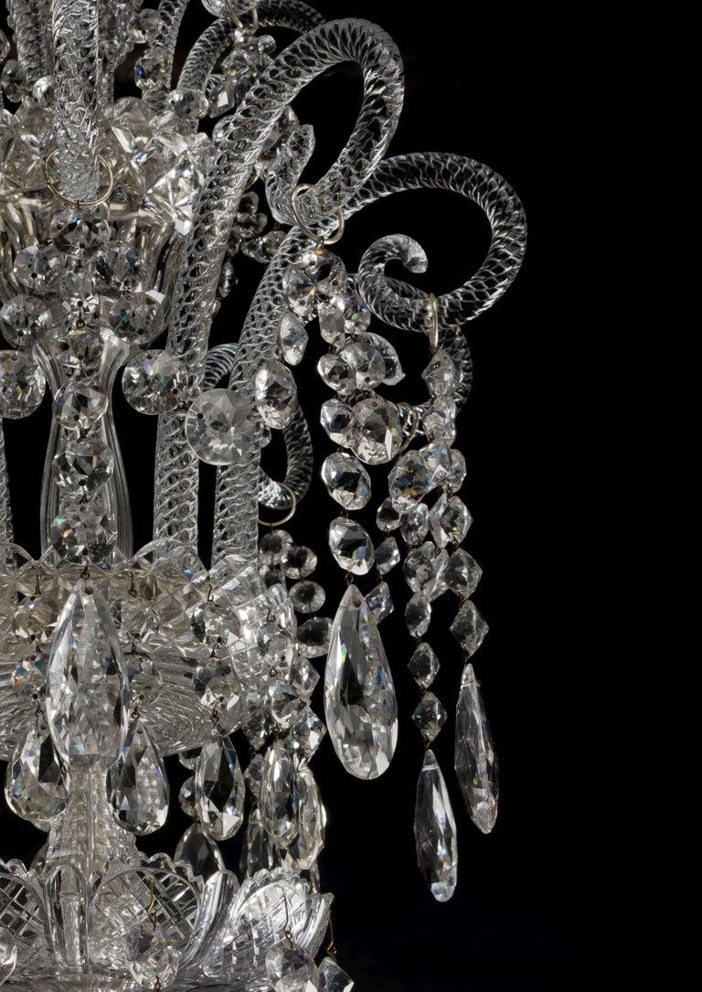 English Large George III Style Cut-Glass Twenty-Light Chandelier, circa 1910 For Sale