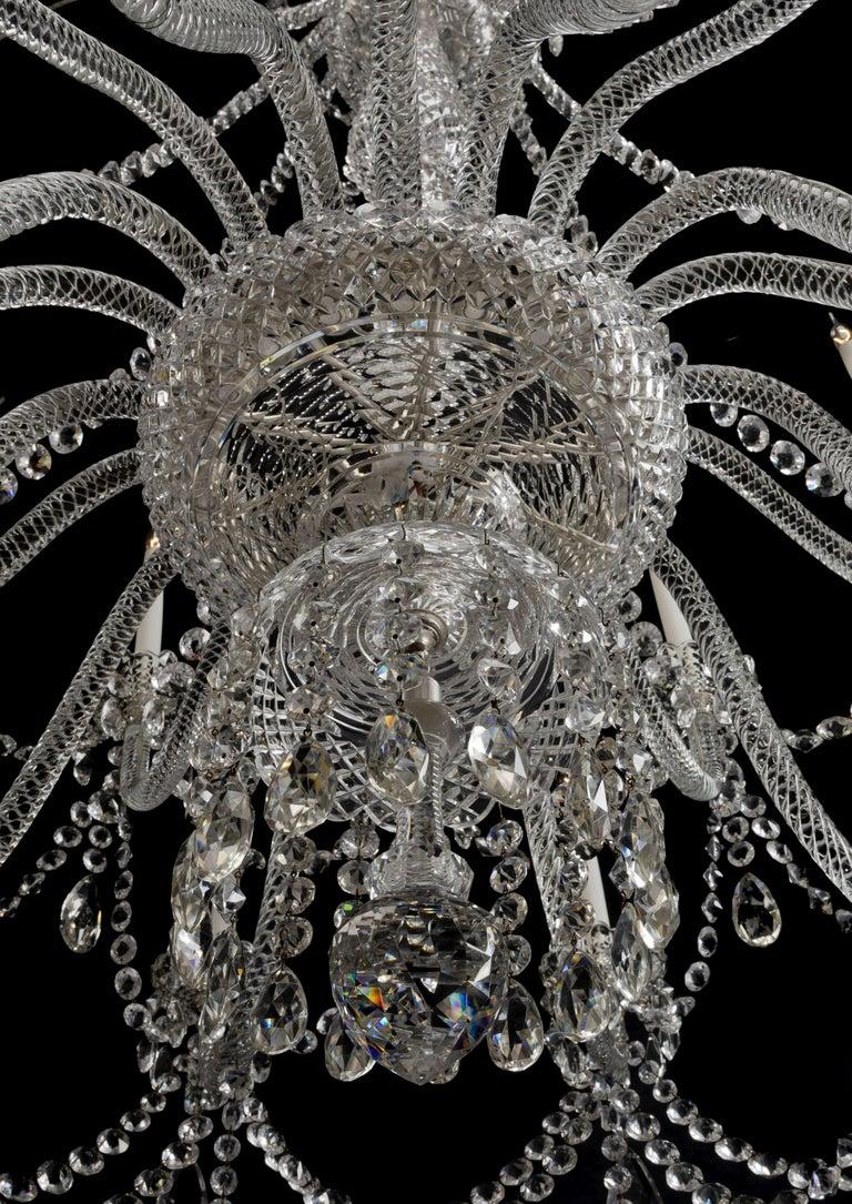 20th Century Large George III Style Cut-Glass Twenty-Light Chandelier, circa 1910 For Sale