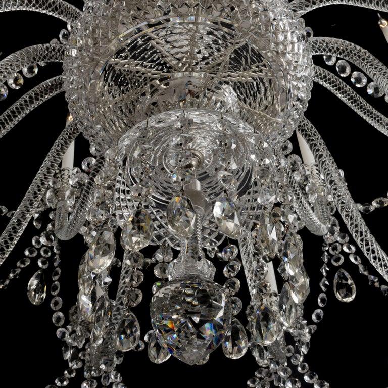Cut Glass Large George III Style Cut-Glass Twenty-Light Chandelier, circa 1910 For Sale