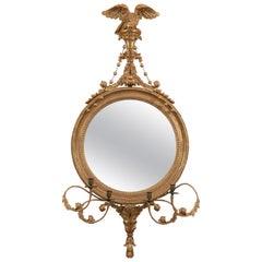 Large Gilt and Eagle Decorated Convex Mirror of Very Pleasing Proportions