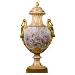 Large Gilt-Bronze Mounted Sèvres-Style Porcelain Vase and Cover
