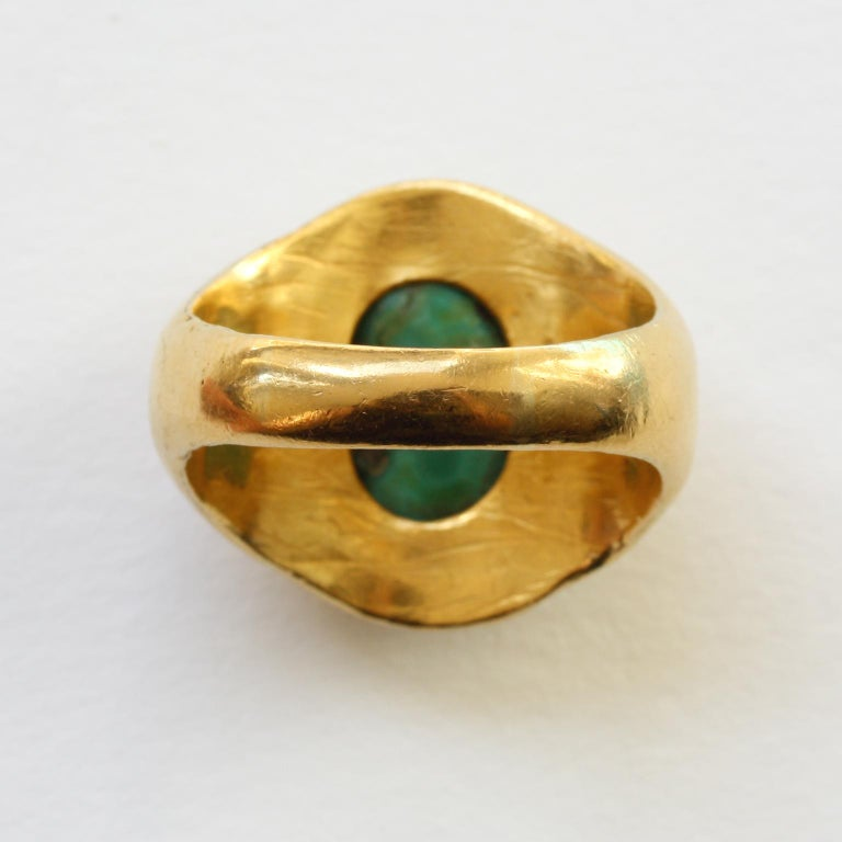 Large Gold and Cabochon Turquoise Ring For Sale 1