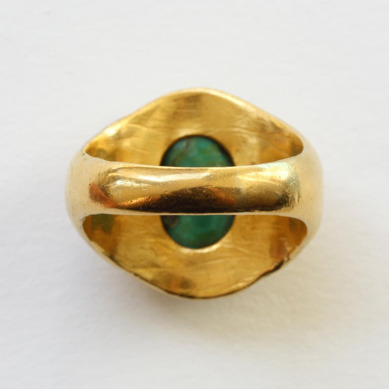 Large Gold and Cabochon Turquoise Ring For Sale 2