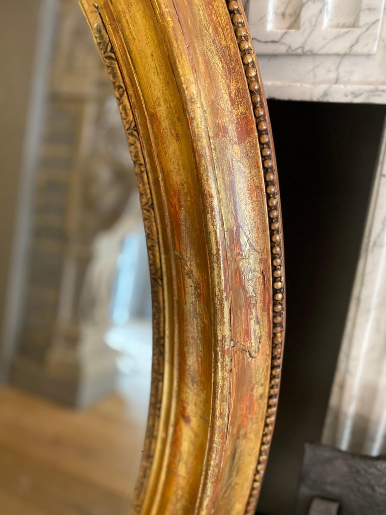 Large Gold Gilt Oval French Mirror 2