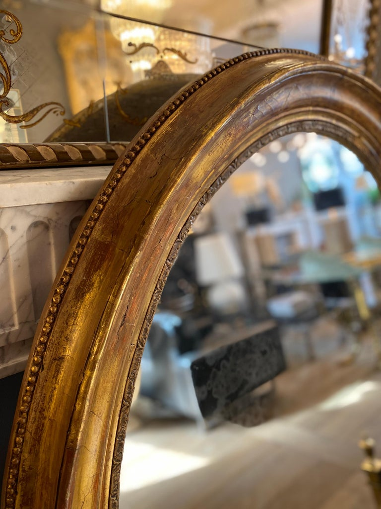 Large Gold Gilt Oval French Mirror 3