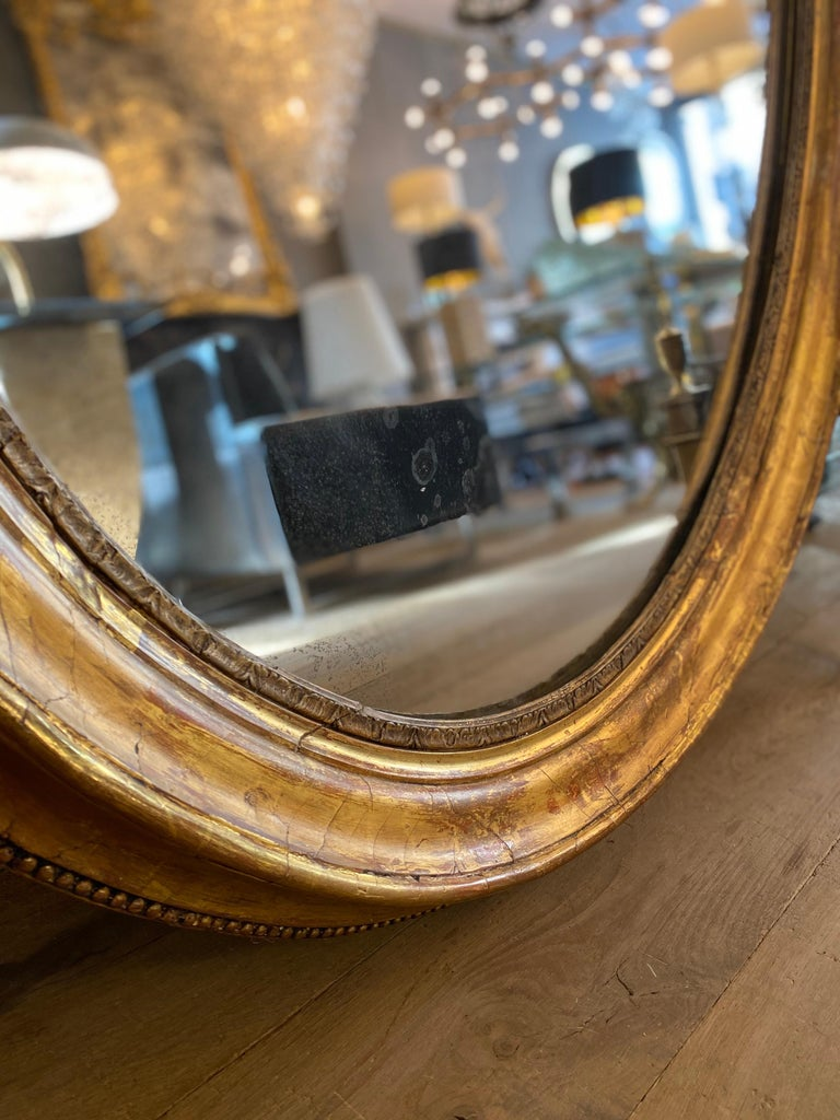 Large Gold Gilt Oval French Mirror 4