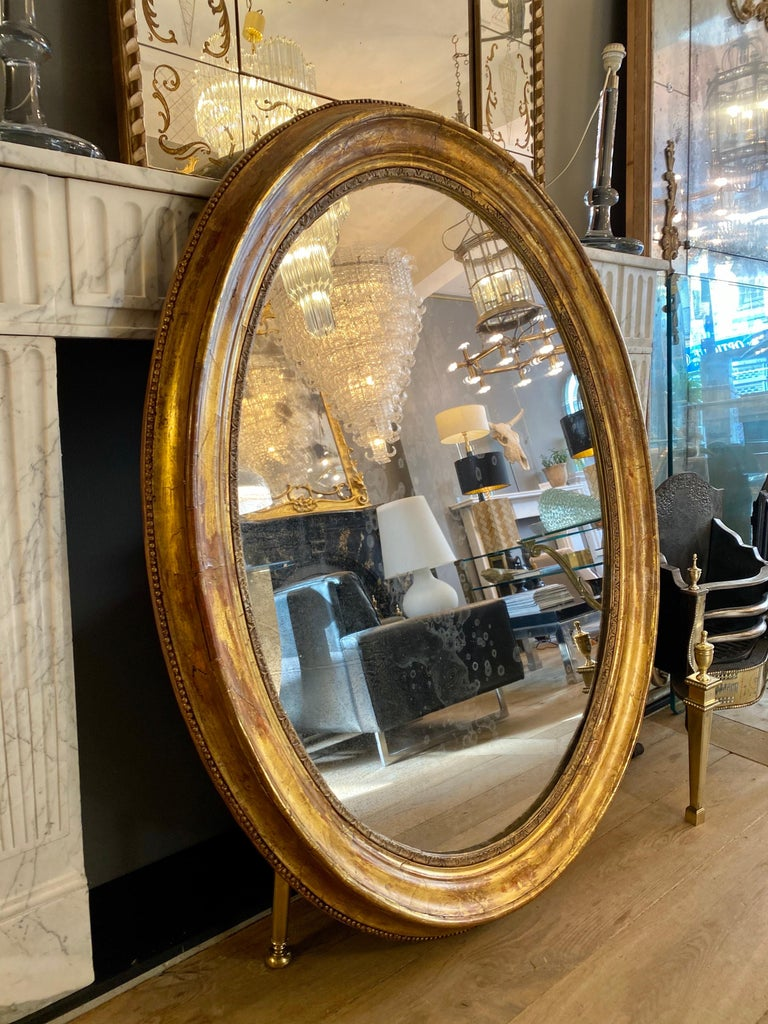 Charles X Large Gold Gilt Oval French Mirror