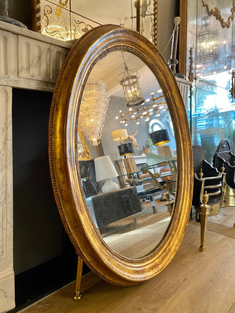 Large Gold Gilt Oval French Mirror In Good Condition In London, GB