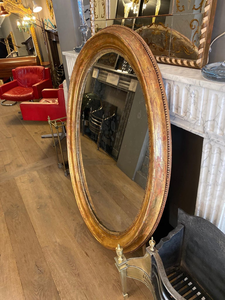 19th Century Large Gold Gilt Oval French Mirror
