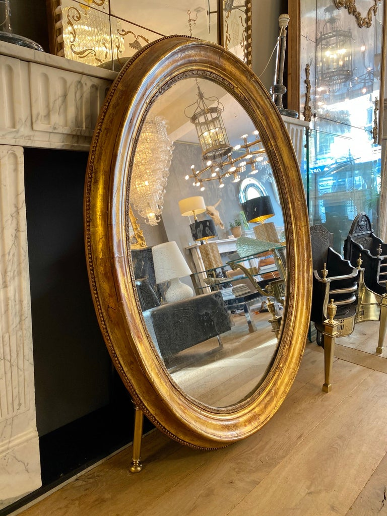 Gold Leaf Large Gold Gilt Oval French Mirror