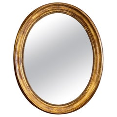 Large Gold Gilt Oval French Mirror