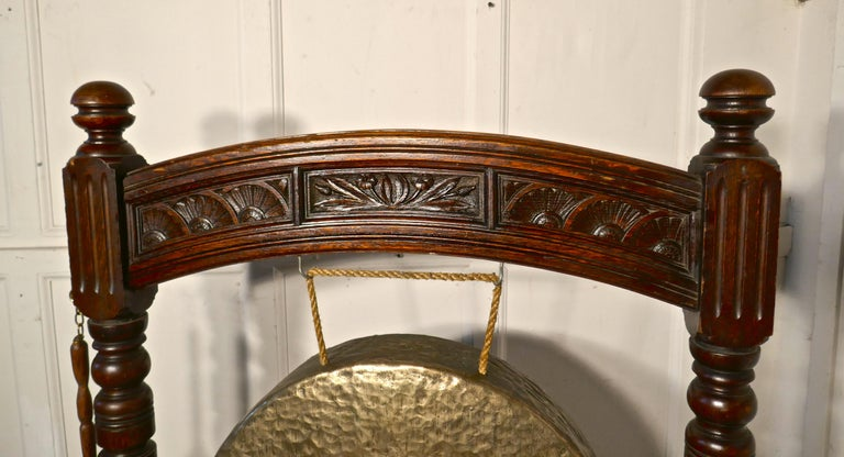 1880s Large Gothic Carved Oak and Brass Dinner Gong For Sale