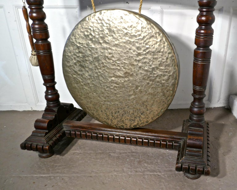 Large Gothic Carved Oak and Brass Dinner Gong For Sale 1