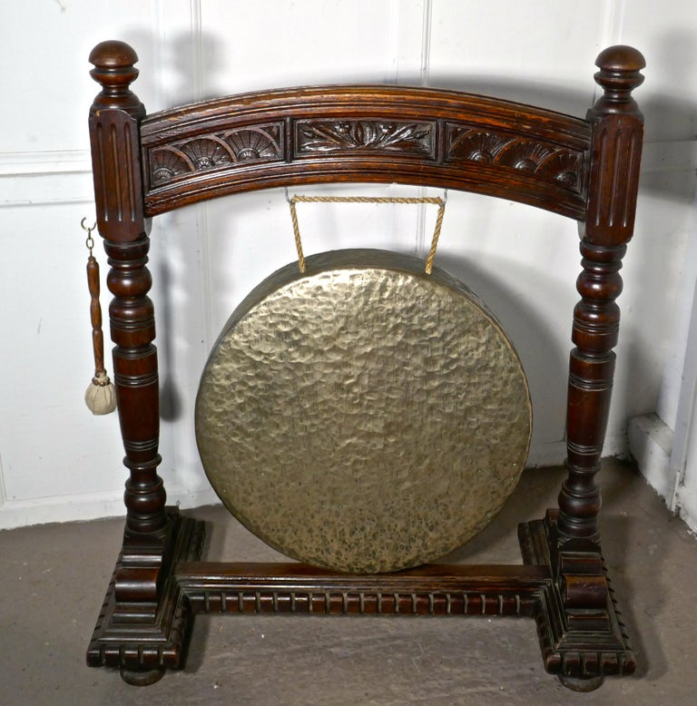 Large Gothic Carved Oak and Brass Dinner Gong For Sale 2