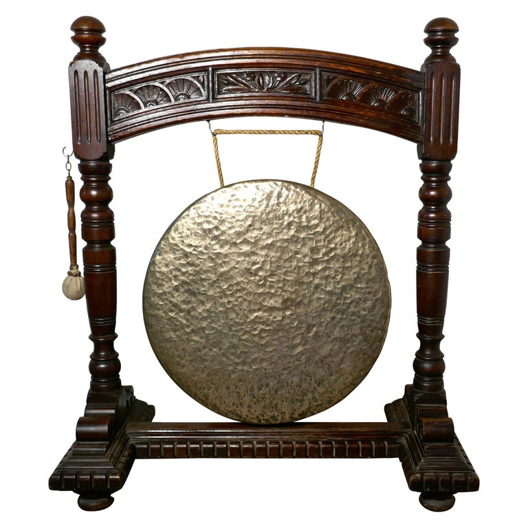 Large Gothic Carved Oak and Brass Dinner Gong For Sale