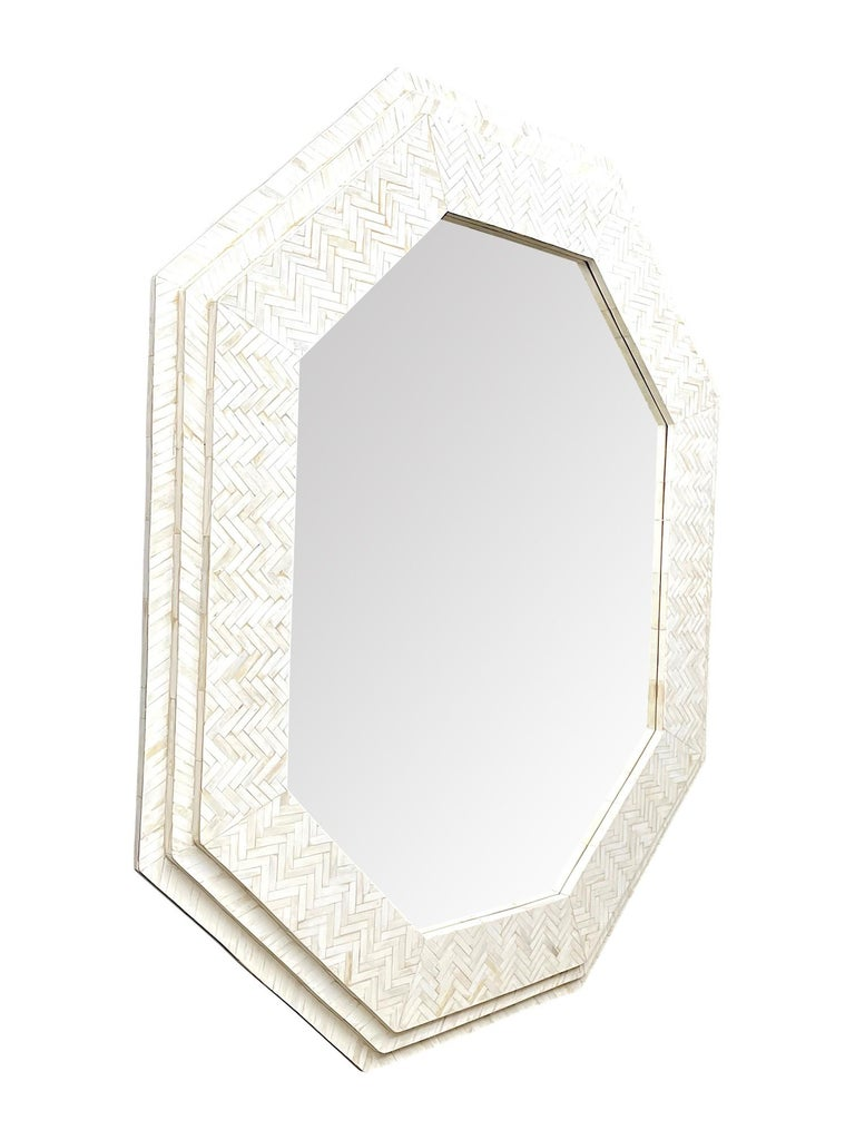 Large Handmade Inlaid Bone Octagonal Mirror in the Style of Enrique Garcel For Sale 4