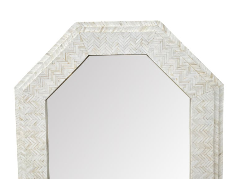 Large Handmade Inlaid Bone Octagonal Mirror in the Style of Enrique Garcel For Sale 5