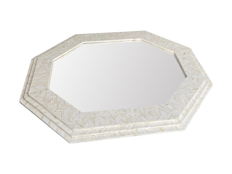 Mid-Century Modern Large Handmade Inlaid Bone Octagonal Mirror in the Style of Enrique Garcel For Sale