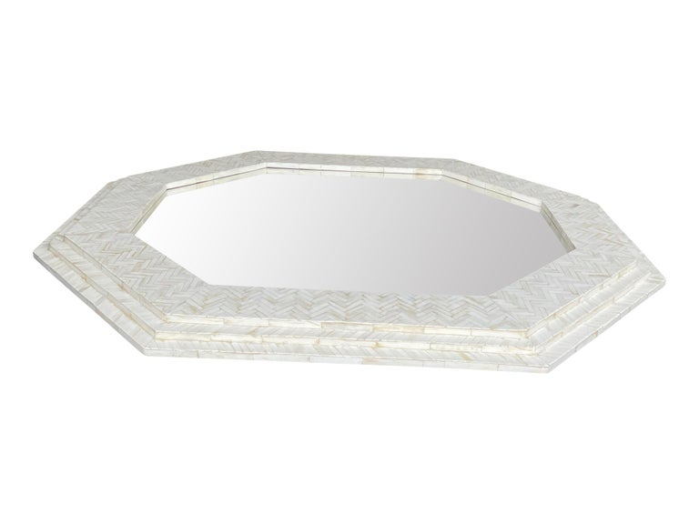 Large Handmade Inlaid Bone Octagonal Mirror in the Style of Enrique Garcel In New Condition For Sale In London, GB