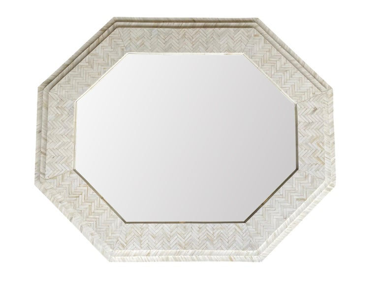 Contemporary Large Handmade Inlaid Bone Octagonal Mirror in the Style of Enrique Garcel For Sale