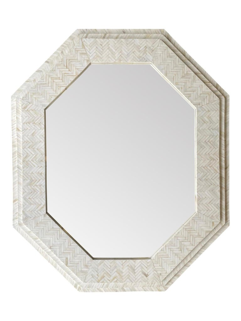 Large Handmade Inlaid Bone Octagonal Mirror in the Style of Enrique Garcel For Sale 1
