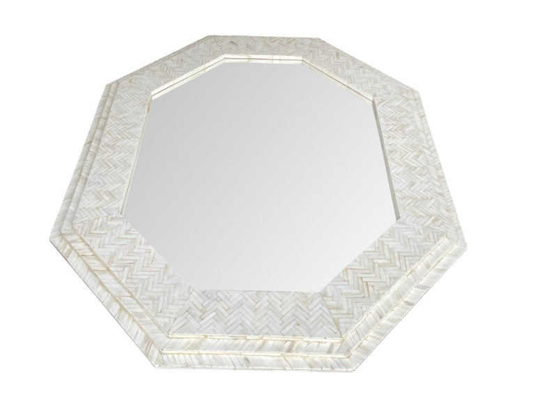 Large Handmade Inlaid Bone Octagonal Mirror in the Style of Enrique Garcel For Sale 2