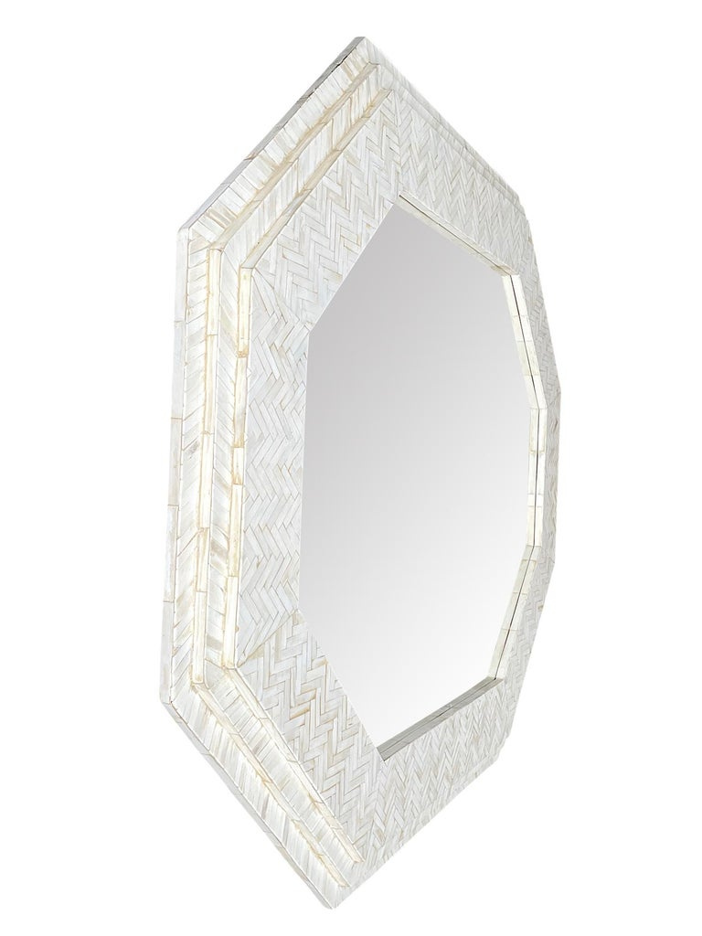 Large Handmade Inlaid Bone Octagonal Mirror in the Style of Enrique Garcel For Sale 3