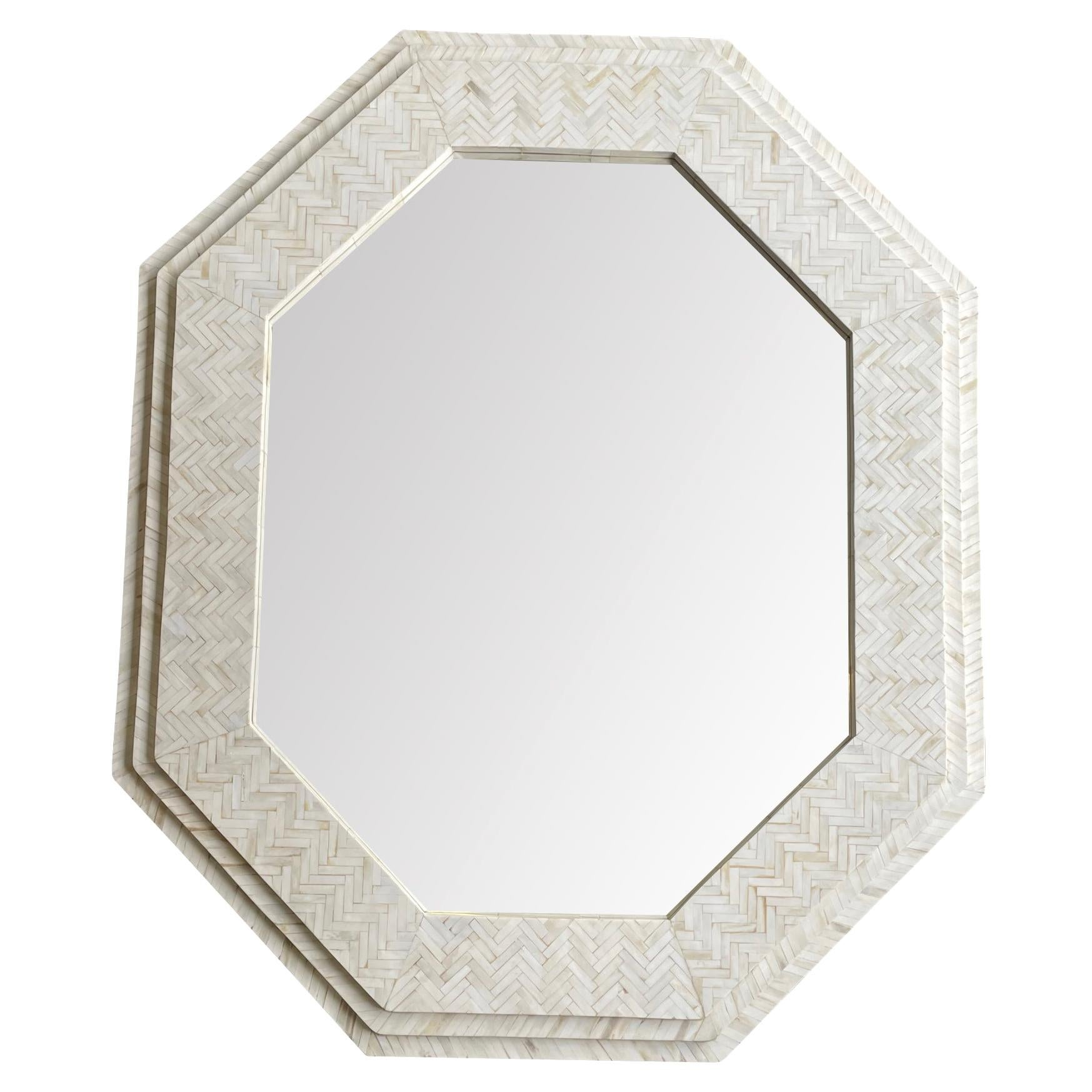 Large Handmade Inlaid Bone Octagonal Mirror in the Style of Enrique Garcel